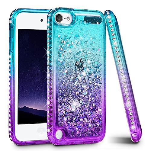 iPod Touch 5 6 7 Case, iPod Touch Case 5th 6th 7th Generation for Girls, Ruky Quicksand Series Glitter Flowing Liquid Floating Bling Diamond Flexible TPU Cute Case for iPod Touch 5 6 7 (Teal Purple) (Ipod 5 6th Generation Cases)