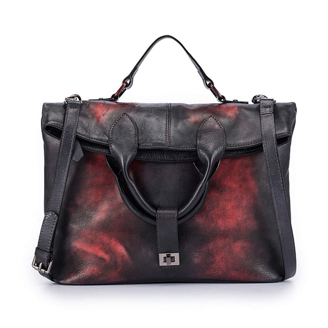 JIANZ-ryggsäck kvinnor äkta läder axelväska för kvinnor damer crossbody spänne handväska tygväska handväskor axelväska (färg: Orange) Orange rött