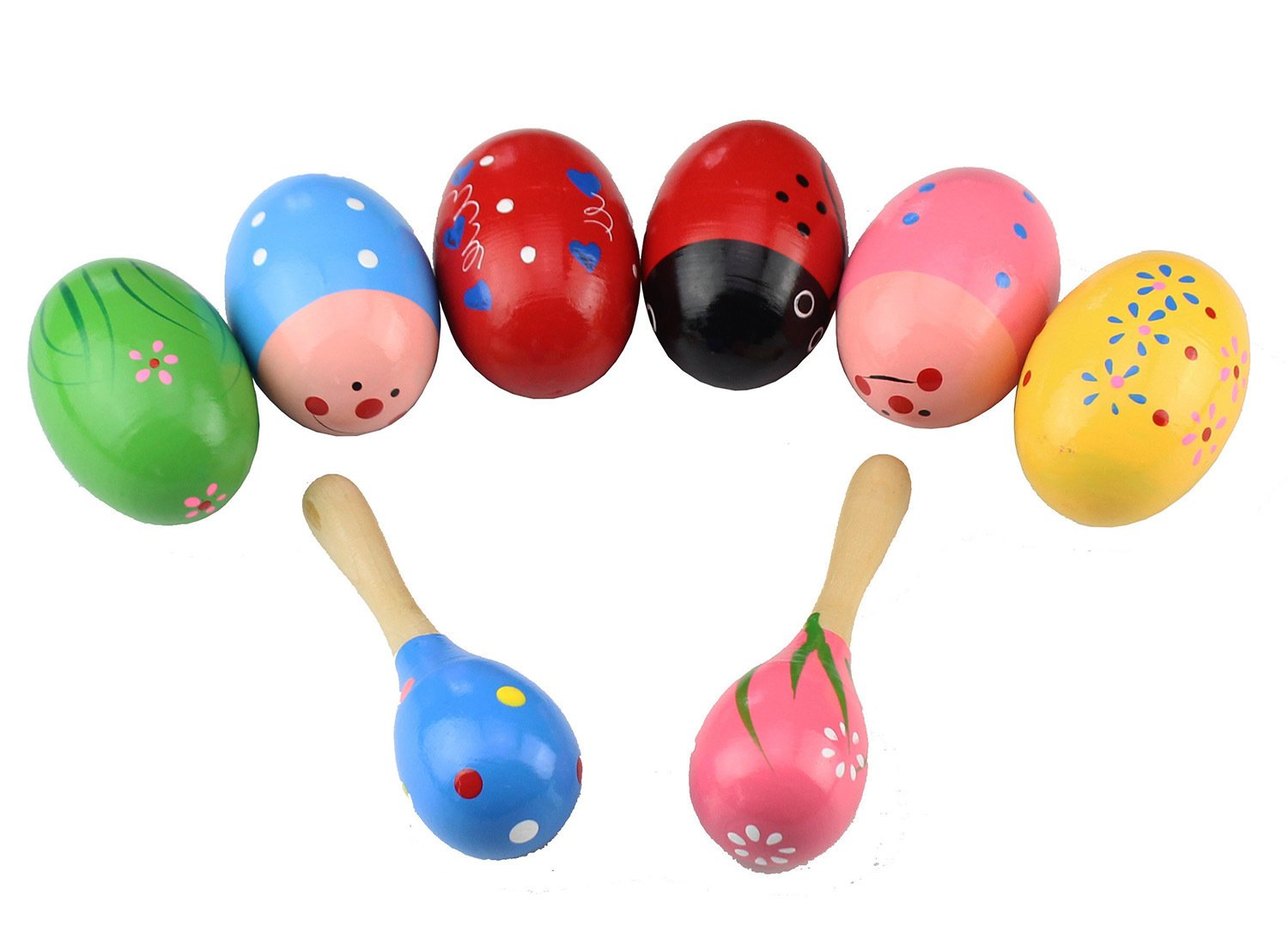 8 Piece Wooden Egg Percussion Musical Shaker Maracas Egg Child Kids Toys ,Easter Hunt ,Halloween Props,Favors,Musical Instrument-JAKY Global JKAY Global HS3897
