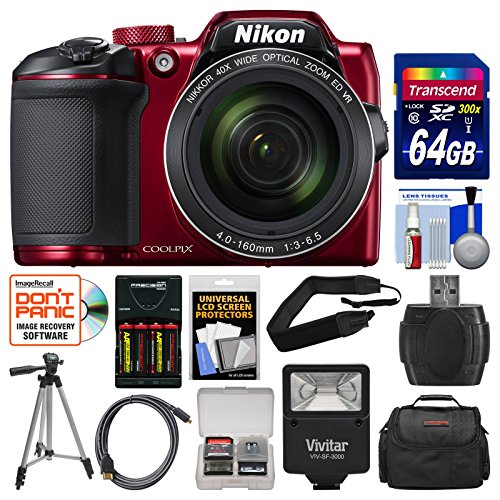 Nikon Coolpix B500 Wi-Fi Digital Camera (Red) with 64GB Card + Case + Flash + Batteries & Charger + Tripod + Strap + Kit (Certified Refurbished)