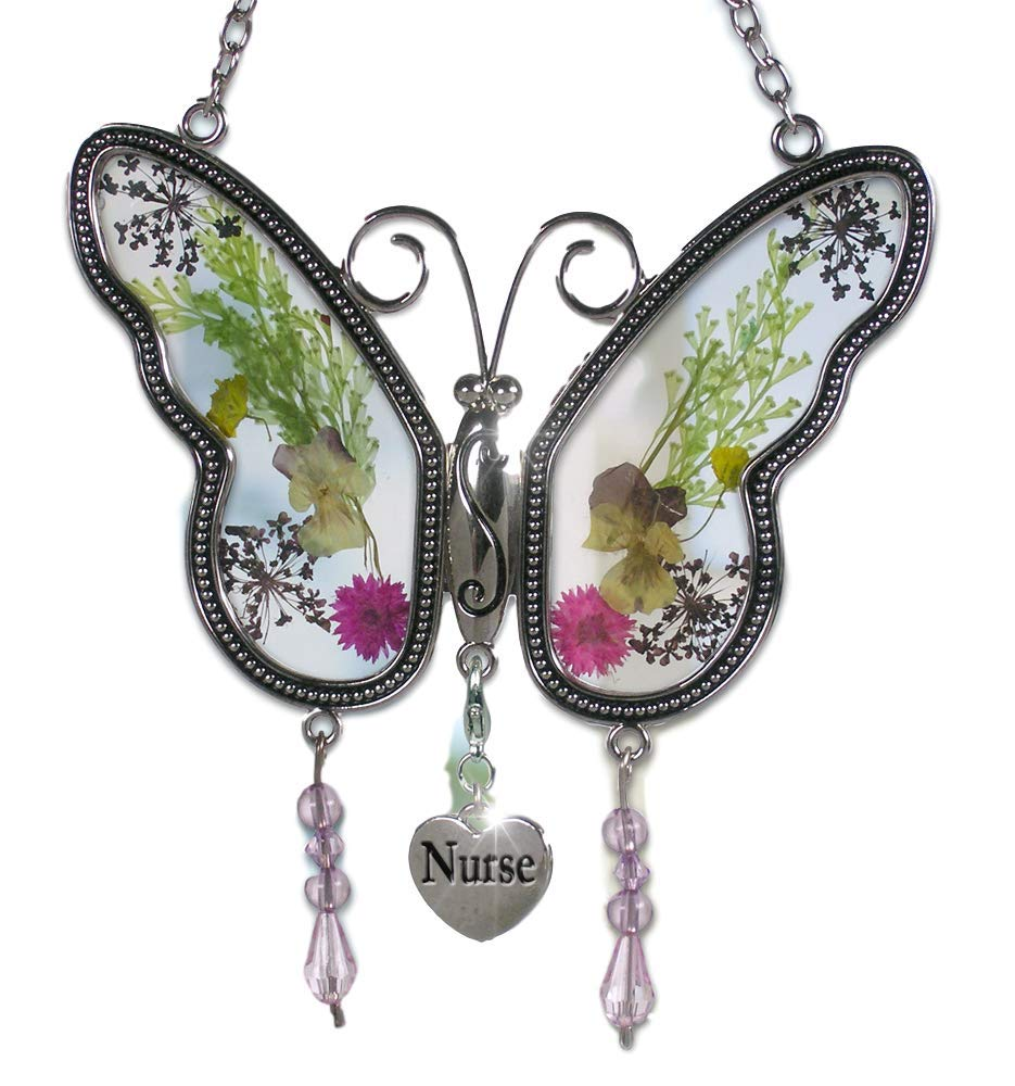 Nurse Practitioners Pressed Flower Wings Gifts for Nurses BANBERRY DESIGNS Nurse Butterfly Suncatcher Nurse Graduation Gifts Nurse Gifts
