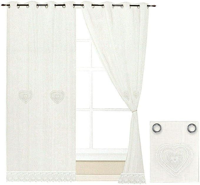 emmevi Tende Finestre Porta Interno Cuore Tessuto Lino Bianco Coppia 2 Pz pi/ù Misure MOD.Tenda Pizzo 60X240