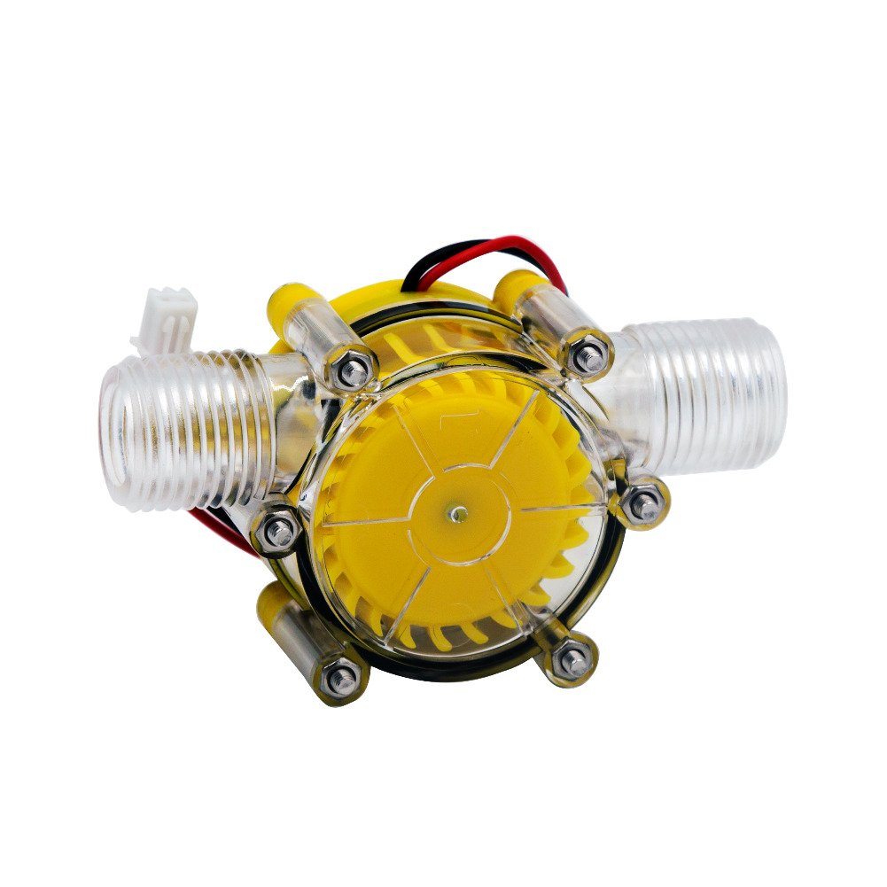SAVEMORE4U18 10W Water Turbine Generator Micro Hydroelectric DIY LED Power DC 12V Water Flow Generator Micro-Hydro Water Charging Tool (Yellow)