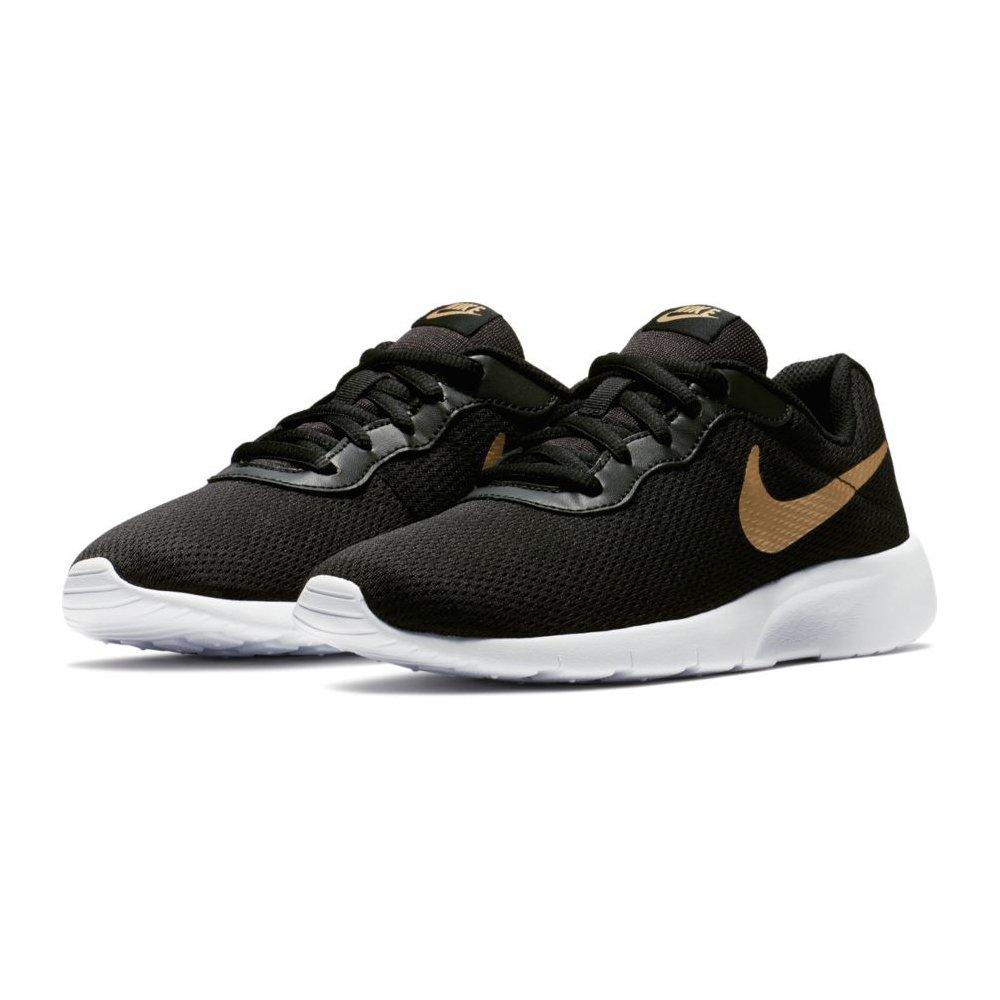 Nike Boy's Tanjun (GS) Running Shoes (3.5 Big Kid M, Black/Metallic Gold/White)