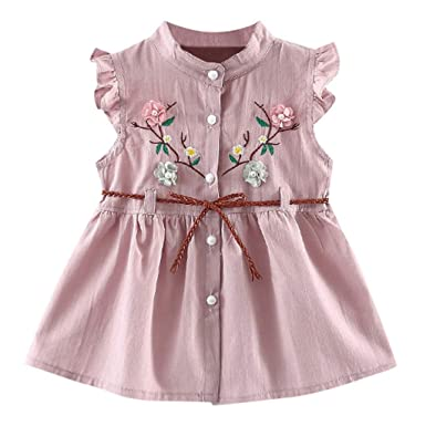 84a9a6e1d0066 Amazon.com: Dsood Baby Dress, 2019 Toddler Baby Girls Flowers Lace-Up Skirt  Party Dress Princess Dresses: Clothing