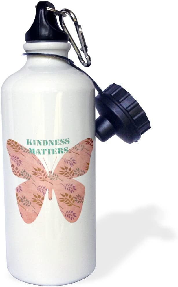 21 oz White 3dRose wb/_108772/_1Kindness Matters with Pink Vintage Style Butterfly Sports Water Bottle