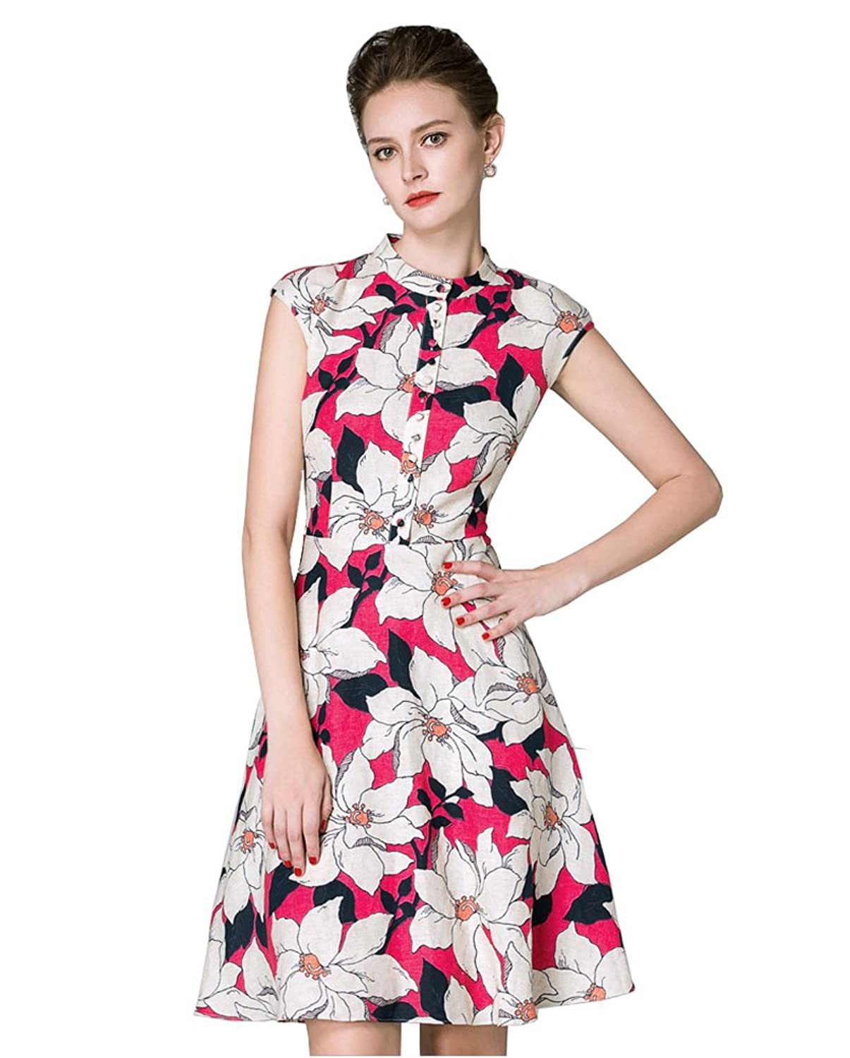 Sarah Dean Woman's Stand Neck Floral Printed Dress