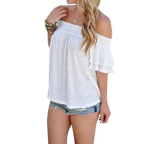 Yeamile💋💝 Camiseta de Mujer Tops Suelto Blusa Causal Camisetas Ocasionales Moda Blusa Blanca con