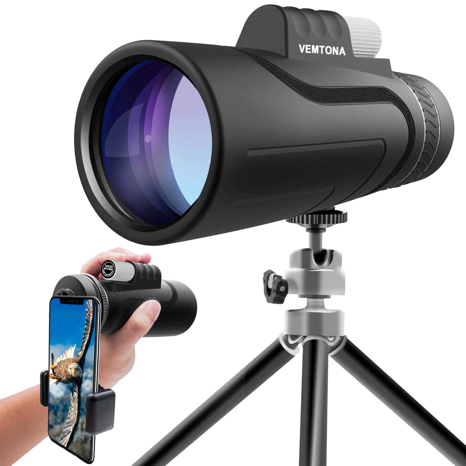 16x50 Monocular Telescope, VEMTONA High Powered Monoculars Scope for Adults with Long Tripod and Phone Adapter, Waterproof HD BAK4 Prism FMC Len Compact Optic for Bird Watching/Outdoor/Concert/Travel