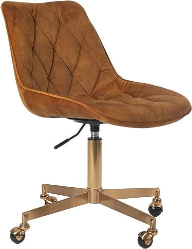 FCQuality Home Office Chair Dutch Velvet Diamond Pattern Mid-Back Office Desk Chair Height Adjustable Task Computer Swivel Chair