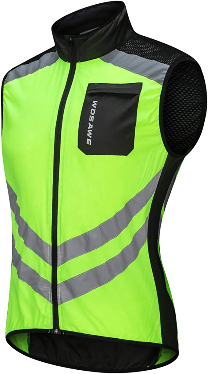 WOSAWE Highly Reflective Cycling Vest Motorcycle Off-Road Sleeveless Wind Jacket