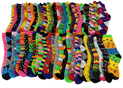 Sumona 50 Pairs Wholesale lots Women Bright Colorful Design Novelty Crew Socks 9-11 -