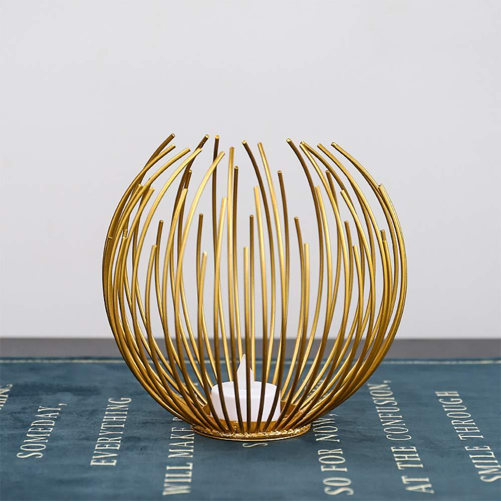 Decorazione a Forma di Sfera Moderno portacandele in Metallo Matrimoni lumino Incluso Stile Nordico Gold per Feste Portacandela in Ferro AZXAZ Natale