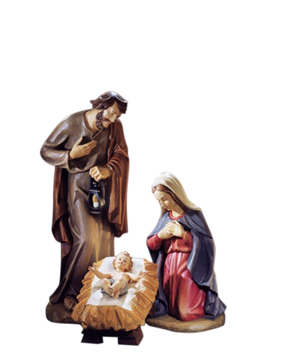 Val Gardena Hand Painted Resin Nativity Statue Set and Add On Figurines (3-Piece Holy Family (24 Inch))