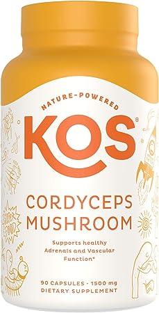 KOS Organic Cordyceps Capsules 1500mg - Potent, Dual-Extracted Cordyceps Militaris Capsules - Endurance & Energy Supplement, Immune Support - 90 Capsules