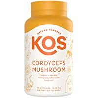 KOS Organic Cordyceps Capsules 1500mg - Potent, Dual-Extracted Cordyceps Militaris Capsules - Endurance & Energy Supplement, Immune Support - 90 Capsules