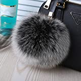 "Roniky Newest Large Genuine Fox Fur Pom Pom Keychain Bag Purse Charm Gold Ring Fluffy Fur Ball (5.9""/15cm, frost)"