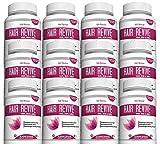 Biotin Hair Skin Nail Supplement - Spirulina Folic Acid Zinc Potassium Vitamin B Iron Manganese Bamboo Extract Promotes Faster Hair Growth Glowing Skin Strong Nails 12 Bottles 60 Capsules Made in USA