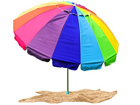 Party with Pride Giant 8 Rainbow Beach Umbrella/with UV Protection/Includes Large Sand Anchor/for Sun and Outdoor/Windproof (Rainbow)
