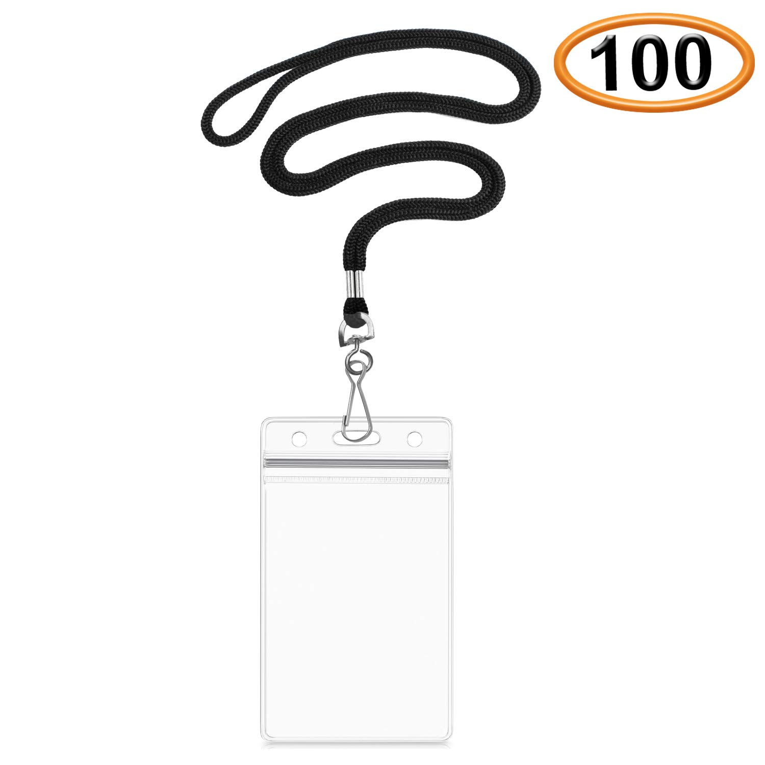 Summerhouse 100 Pack Transparent Plastic ID Name Tags Badge Holder and Woven 36'' Lanyard - Vertical Fit 2.4x3.6'' Card - for Conference Workshop Meeting Exhibition School