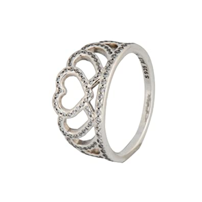 15e163b2e Amazon.com: PANDORA Hearts Tiara Ring, Clear CZ 190958CZ-54 EU 7 US: Jewelry