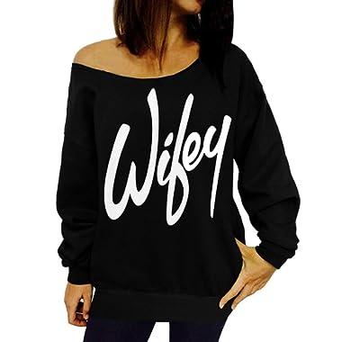 GSVIBK Womens Black Sweatshirts Off Shoulder Sweatshirt Long Sleeve Slouchy Shirts Pullover Letter Printed Sweatshirts