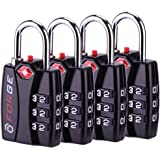 Forge TSA Lock 4 Pack - Open Alert Indicator Easy Read Dials Alloy Body