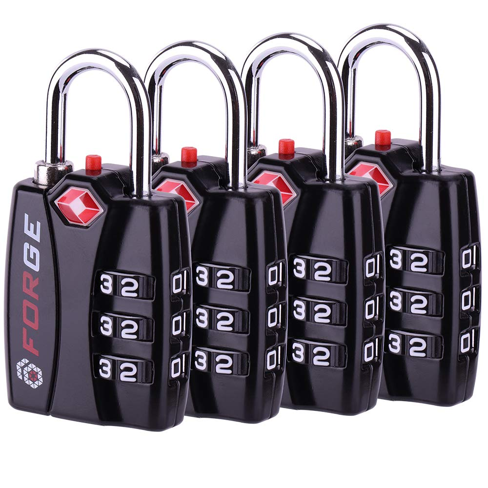 Forge TSA Luggage Combination Lock 4 Pack - Open Alert Indicator, Easy Read Dials, Alloy Body- Ideal for Travel, Lockers, Bags by Forge