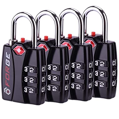 Forge TSA Luggage Combination Lock 4 Pack - Open Alert Indicator, Easy Read Dials, Alloy Body- Ideal for Travel, Lockers, Bags