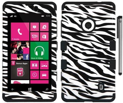 For Nokia Lumia 521 Animal Print Design Tuff Hybrid Cover Case with ApexGears Stylus Pen (Black White Zebra)