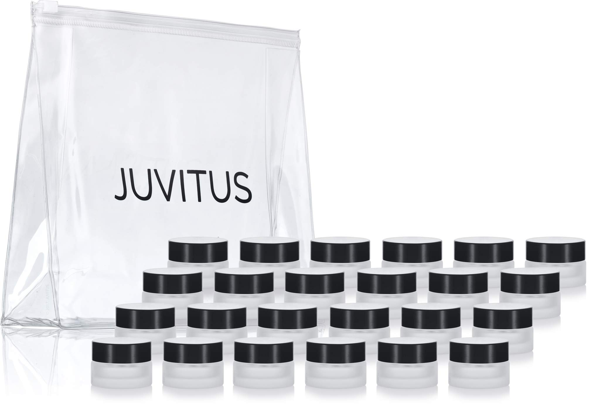 Frosted Clear Glass 5 ml 1/6 oz Small Thick Wall Balm Salve Pot Container Jars with Black Smooth Foam Lined Lids (24 Pack) + Travel Bag