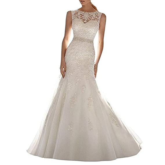 XUYUDITA Women\'s Applique Beaded Lace Mermaid Wedding Dress Bridal ...