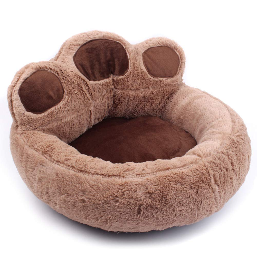 Brown Largelzndeal 1Pc Plush Paw Shape Dog Nest Soft Warm Puppy Kitten Nest Home Bed Pet Supplies