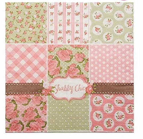 - WallyE Pink Paper Napkins Shabby Chic Decoupage Napkins,20 Pack
