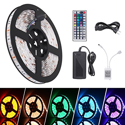 Led Light Strip 16.4ft Waterproof SMD 5050 300leds 12V DC Flexible RGB Light Strips, LED Tape, LED Strip Lights Kit with 44key Remote Controller + Power Supply for Kitchen Bedroom Party TV Backlight by Cynkie