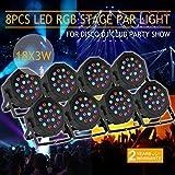 XeeStore 8pcs LED PAR Stage Light 18 X 3W Stage Lighting Auto DMX512 RGB Par64 Home Party DJ Club