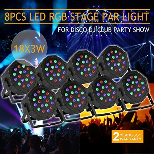 XeeStore 8pcs LED PAR Stage Light 18 X 3W Stage Lighting Auto DMX512 RGB Par64 Home Party DJ Club by XeeStore