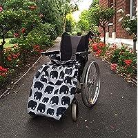 BundleBean - Cosy - Saco impermeable para sillas de ruedas - Para adultos - Con forro polar - Universal Fácil de ajustar. Viene en una bolsa compacta para guardarlo cómodamente - Diseño de elefantes - Gris