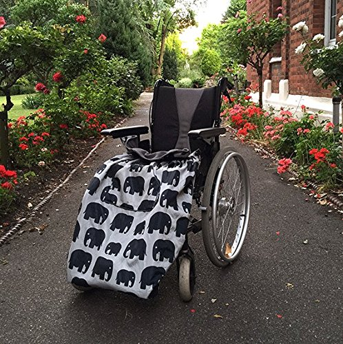 BundleBean - Adult Wheelchair Cosies - Waterproof, Fleece lined & Universal Fit. Easy to fit, includes compact stuff-sac for storage - Grey Elephant