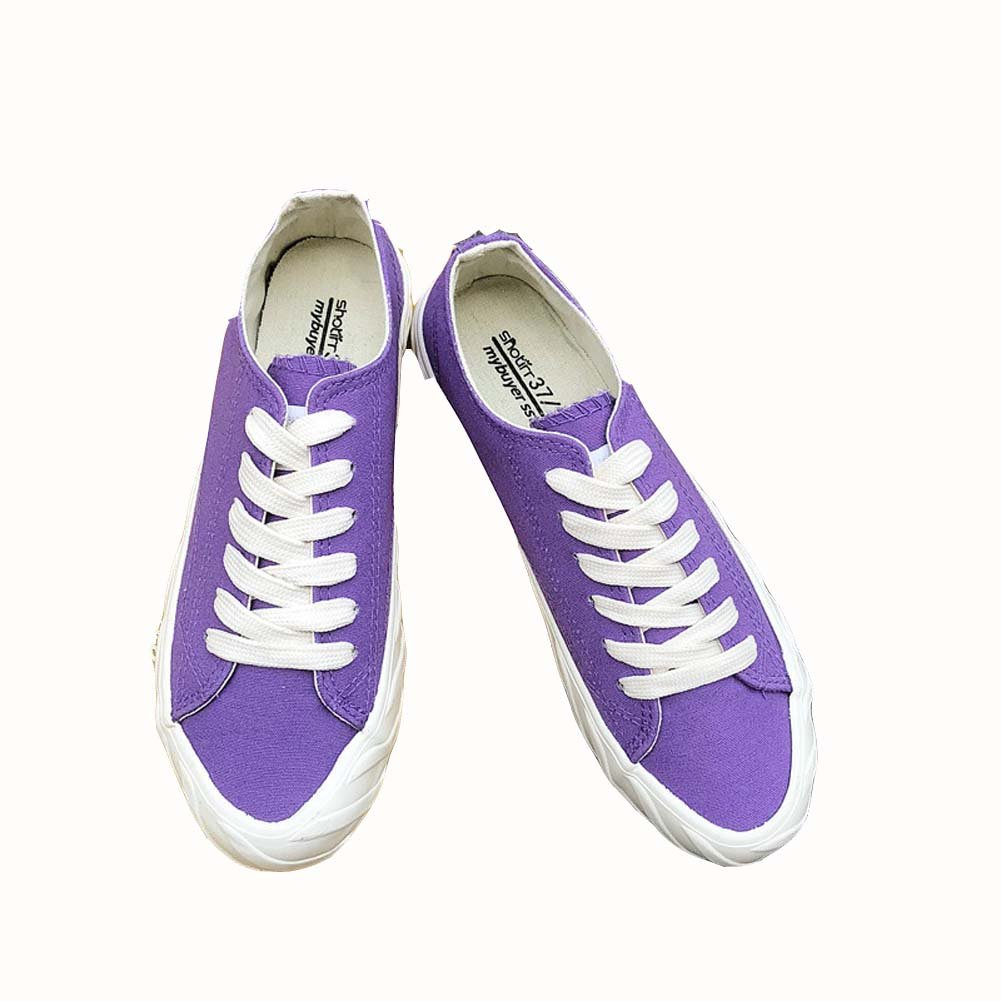 Tonigue Zapatos De Lona Estudiantes Femeninos Harajuku Wild Flat Ins Zapatos Zapatos Shoesuk3-UK7 EU35UK3|Purple