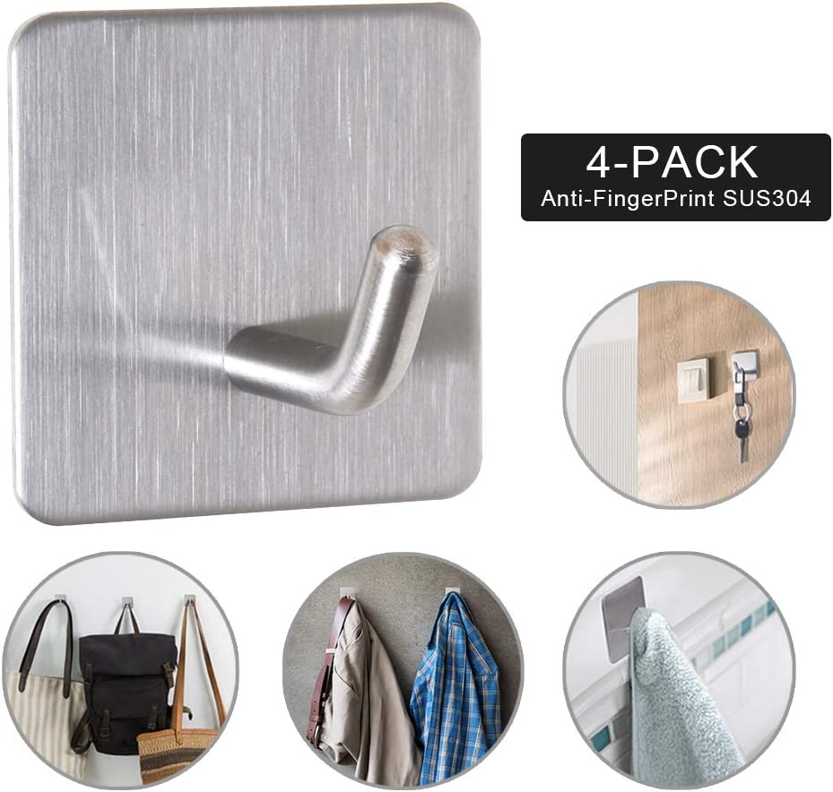Mosilveron Self-Adhesive Towel Hooks, Wall Hooks, for Office/Kitchen/Bedroom/Bathroom, Anti-Fingerprint Stainless Steel 304, Ø 6mm Hook (Silver)