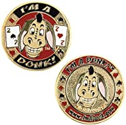 Heavyweight Solid Brass Poker Card Guards with Color Inlays
