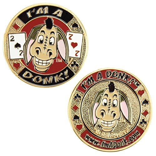 Heavyweight Solid Brass Poker Card Guards with Color Inlays (I'm a Donk!)