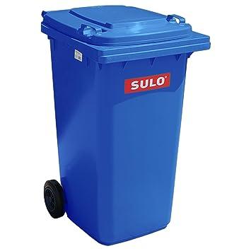 Cubo de basura 2 ruedas, contenedor a basura SULO 240 litros, azul (22066): Amazon.es: Hogar