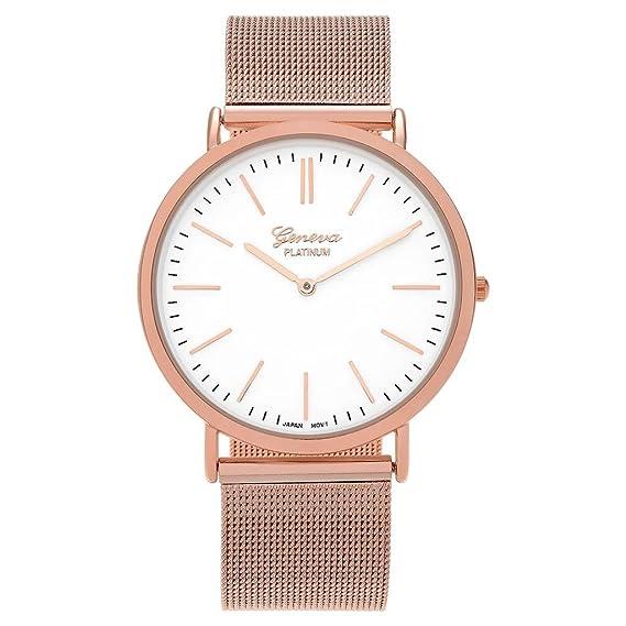 Para mujer Geneva Platinum reloj redondo oro rosa malla banda