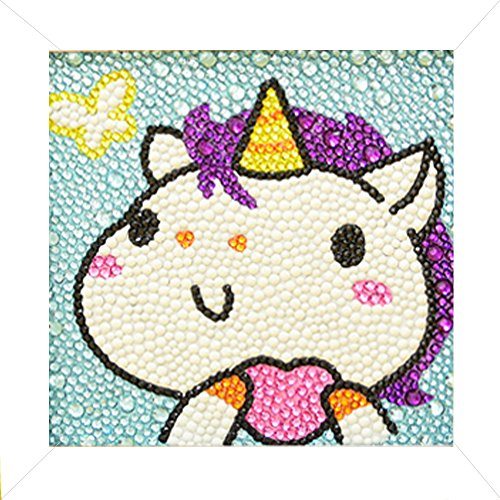 Caraok 5D Diamond Painting Full Drill Kits for Kids, Cross Stitch Kits for Children with Frame 6X6 Inch (Unicorn)