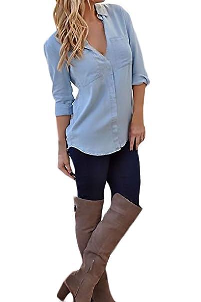 Jeans Camisas Mujer Manga Larga Verano Y Otoño Vaqueras Blusas Azul Fiesta Elegantes Tops Stand Cuello
