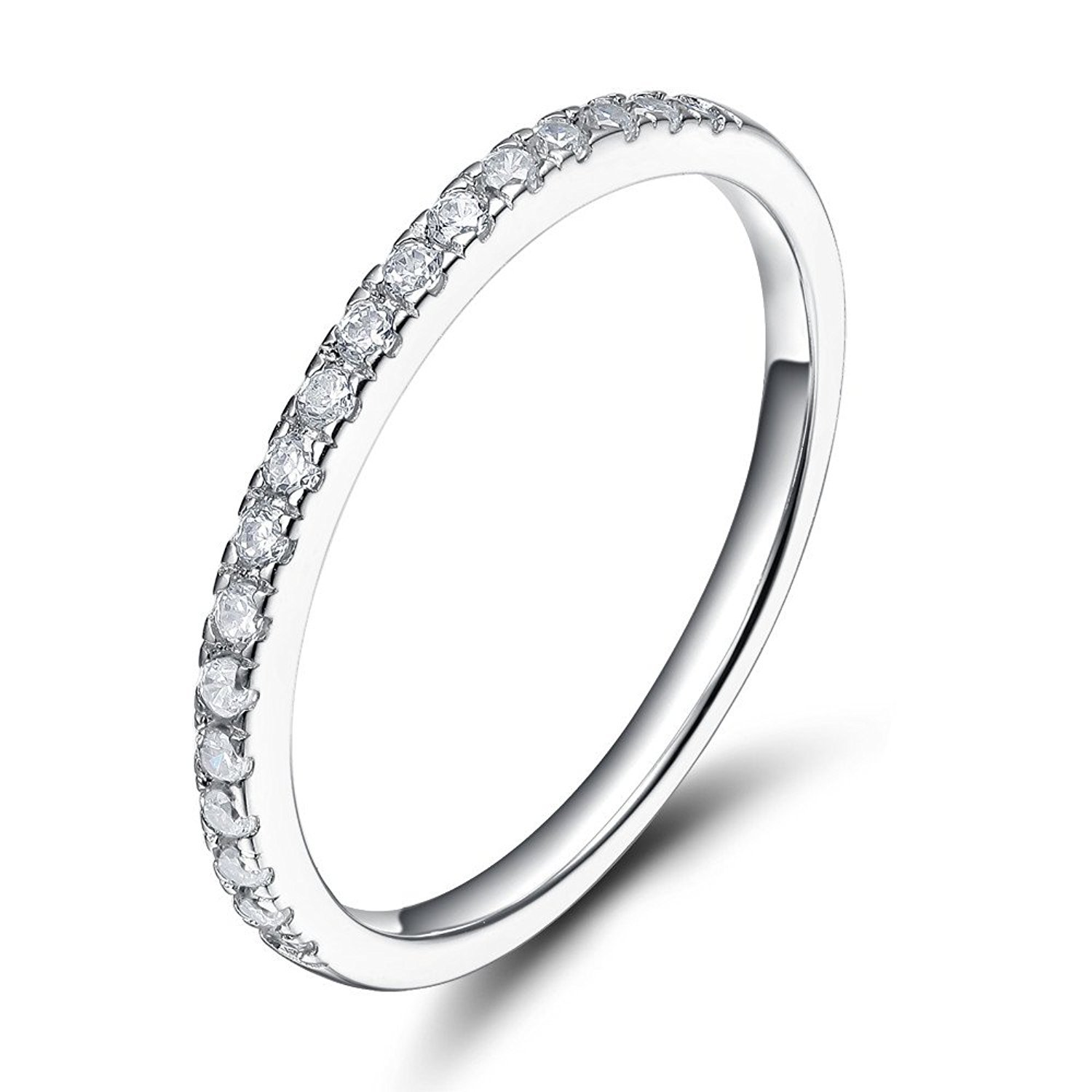 Sz 7.0 Solid 10K White Gold Diamond 2MM Half Eternity Stackable Wedding Anniversary Band Ring by Kobelle