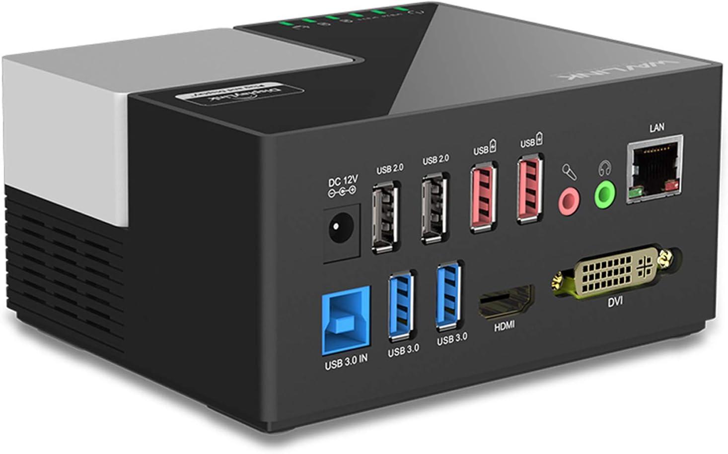 WAVLINK USB 3.0 Portátil Docking Station Multifuncional Dual Video Monitor Display DVI, HDMI, Gigabit Ethernet, Audio, 6 USB Puertos,DP, Soporta Windows, Mac OS, Android-Negro