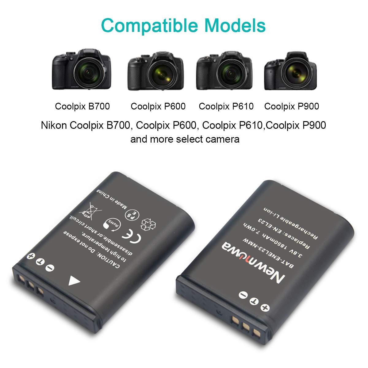 Newmowa EN-EL23 Battery (2 Pack) and Dual USB Charger Kit for Nikon EN-EL23 and Nikon Coolpix B700, P600, P610, P610s, P900, P900s, S810c Digital ...